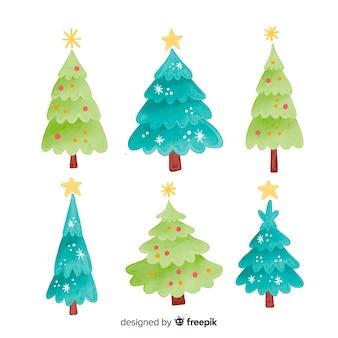 Variedad de tonos verdes de árbol de navidad.
