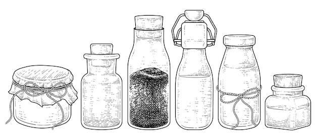 Variedad vintage de botella de vidrio con tapón de corcho colección dibujado a mano dibujo vectorial ilustración