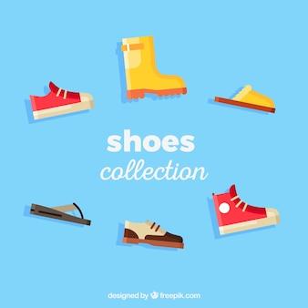Variedad de zapatos de la historieta