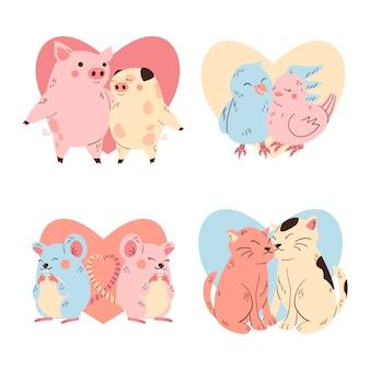 Varios animales como pareja el día de san valentín