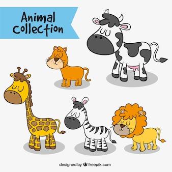 Varios animales dibujados a mano