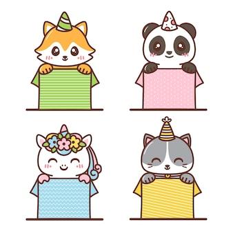Varios animales lindos dentro de la caja de cumpleaños