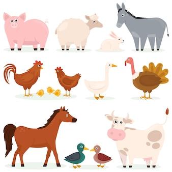Varios animales mascotas granja conjunto plano de personajes de dibujos animados