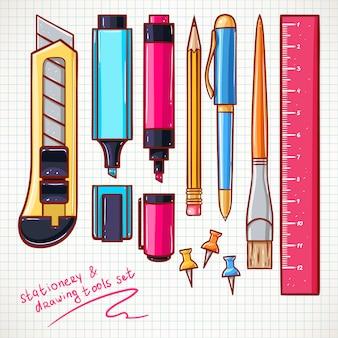 Con varios artículos de papelería. cuchillo de papelería, bolígrafos, marcadores