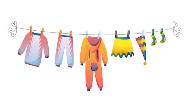 Varios artículos de ropa de bebé en cuerda aislado ilustración vectorial sobre fondo blanco.