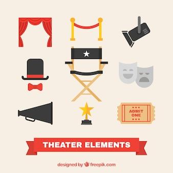 Varios artículos de teatro en diseño plano