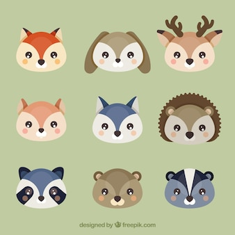Varios avatares de animales adorables en diseño plano