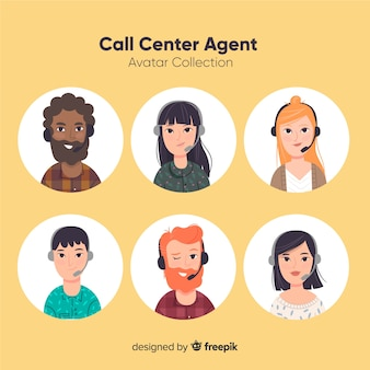 Varios avatares de call center en estilo flat
