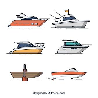 Varios barcos en diseño plano