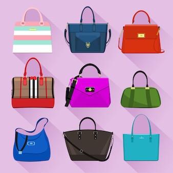 Varios bolsos de mujer de moda con estampados coloridos. ilustración de vector de estilo plano