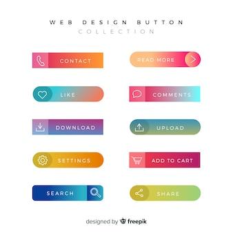 Varios botones web en estilo gradiente