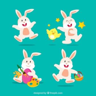 Varios conejos divertidos para el día de pascua