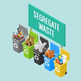 Varios contenedores de reciclaje isométricos en diferentes colores en el sitio de construcción