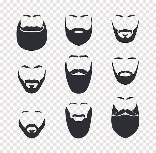 Varios cortes de pelo de bigote y barba, cabello facial masculino, máscaras faciales. objetos aislados de vector de barbería sobre fondo transparente.