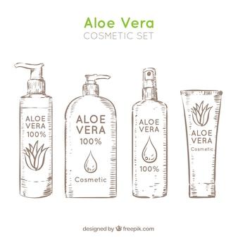 Varios cosméticos de aloe vera dibujados a mano