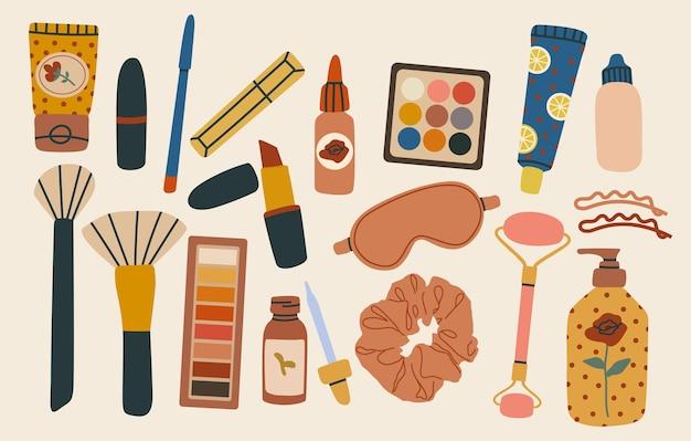 Varios cosméticos y productos de cuidado y maquillaje