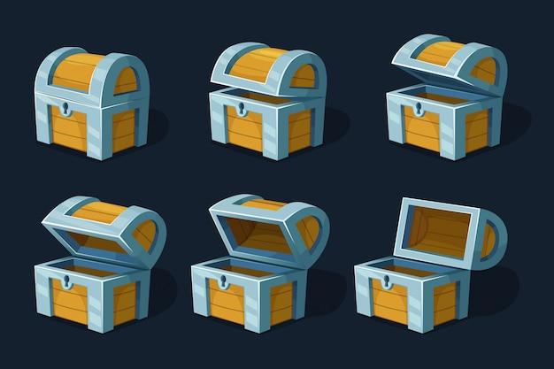 Varios cuadros clave animación cofre o caja de madera. dibujos animados