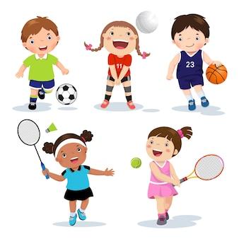 Varios deportes para niños aislados en blanco