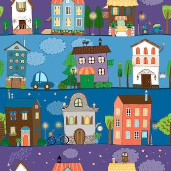 Varios diseños de casas coloridos y lindos en diferentes momentos del día.