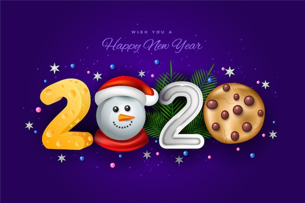Varios diseños divertidos para el texto del año nuevo 2020