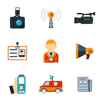 Varios diseños gráficos de iconos planos de periodismo simple aislado sobre fondo blanco.