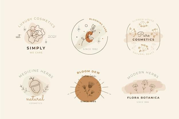 Varios diseños de logotipos de cosméticos dibujados a mano.