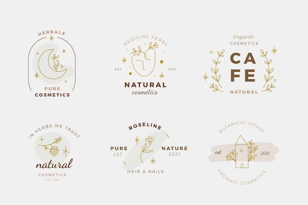 Varios diseños de logotipos de productos de belleza dibujados a mano.