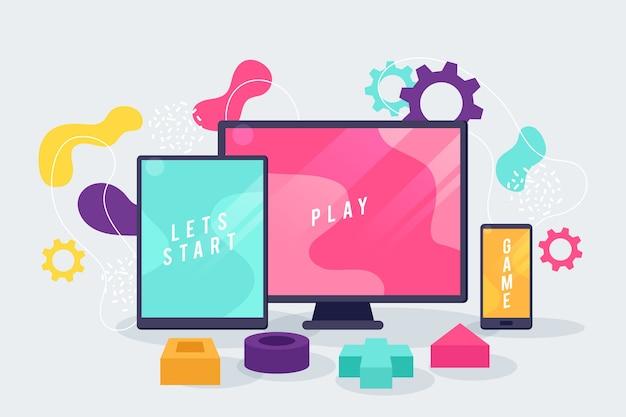 Varios dispositivos y concepto de juego en línea.