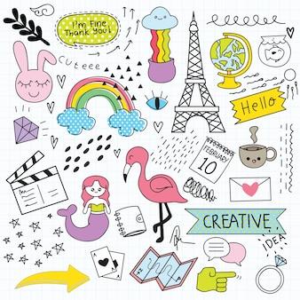 Varios doodle conjunto ilustración vectorial