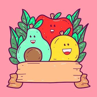 Varios doodle kawaii s plantilla