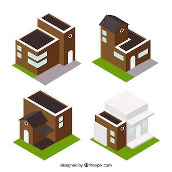 Varios edificios en estilo isométrico