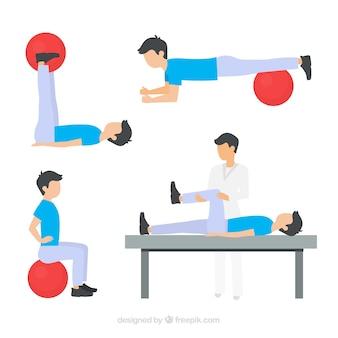 Varios ejercicios de fisioterapia