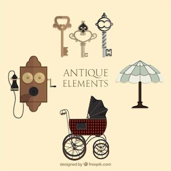 Varios elementos bonitos antiguos