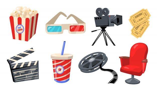 Varios elementos de cine, teatro y cine.