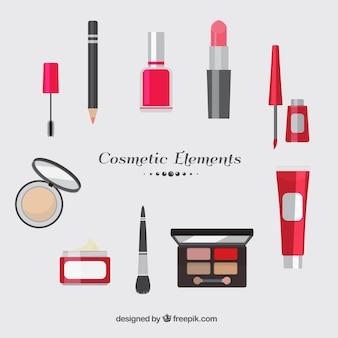 Varios elementos cosméticos en diseño plano
