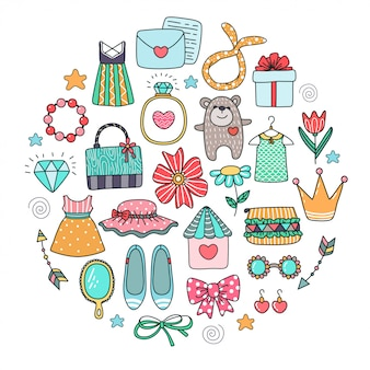 Varios elementos de doodle. alegrías de niña.