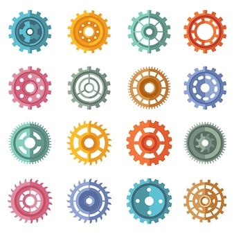 Varios engranajes de color estilo conjunto
