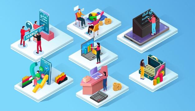 Varios escenarios que representan a personas que realizan diferentes tareas y trabajan en un proyecto. ilustración isométrica de negocios.