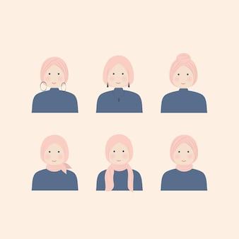 Varios estilos de niña hijab en conjunto de ilustraciones