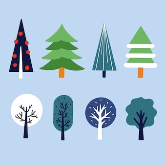 Varios estilos únicos de árboles ilustración de activos