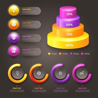Varios gráficos estadísticos gráficos brillantes en 3d