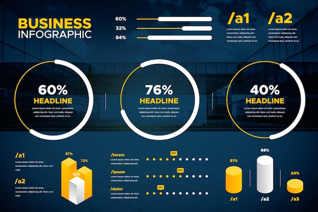 Varios gráficos y texto de infografía empresarial