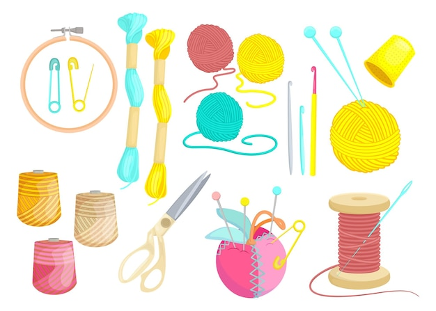 Varios hilos de colores para coser set plano