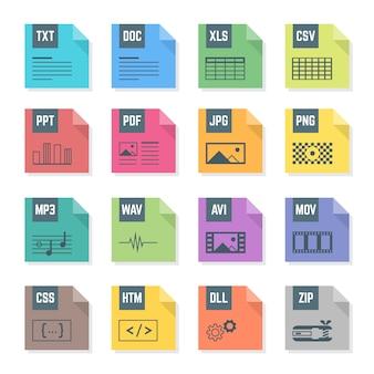 Varios iconos de formatos de archivo de colores de diseño plano con ilustraciones de símbolos fondo blanco