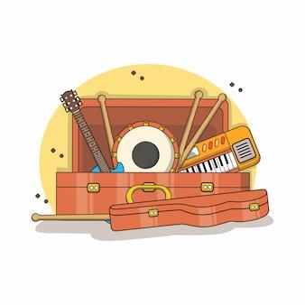 Varios instrumentos musicales en el cofre