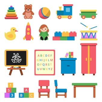 Varios juguetes para niños en edad preescolar