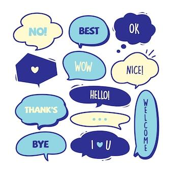 Varios lindo discurso burbuja doodle