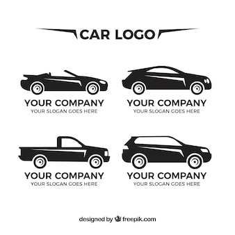 Varios logos de coches en diseño plano