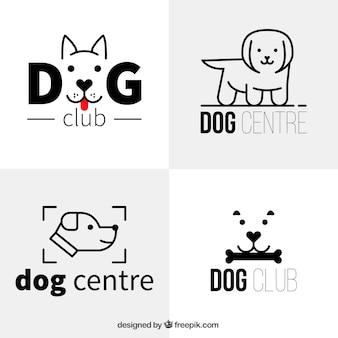 Varios logos de perro planos en estilo minimalista