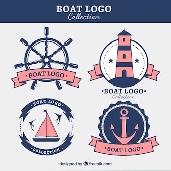 Varios logotipos de barcos con elementos rosas